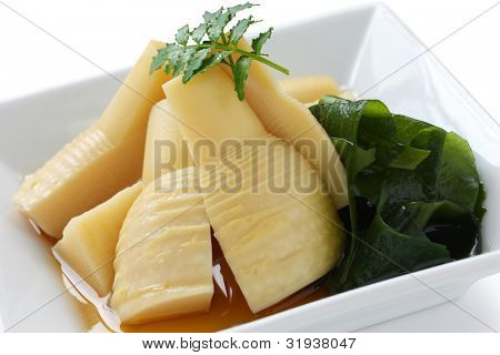 wakatakeni,simmered young bamboo shoots with wakame(seaweed), japanese traditional cuisine