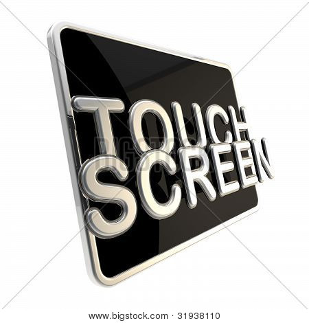 Touch screen icon as a glossy pad