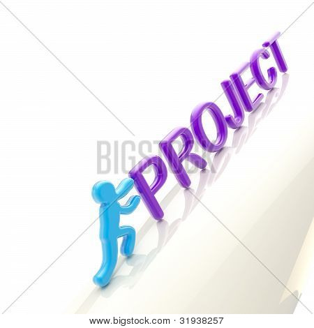 "Human figure pushing the word ""project"" uphill"