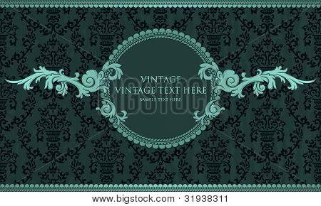 Detailed vintage card with damask wallpaper on blue grunge background