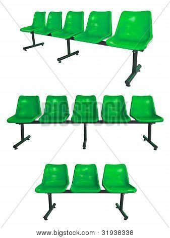 die Menge der grünen Kunststoff Stühle
