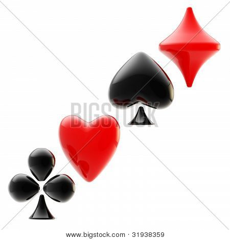 Gambling emblem made of playing card suits