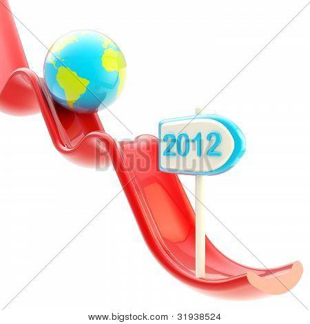 Planeta terra em queda queda de gráfico