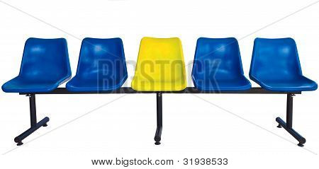 Plastic Chairs At The Bus Stop Isolated On White Background