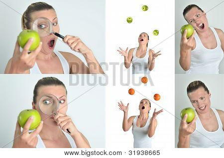 Healthy Blondy Happy Woman Plays And Looks Apples Oranges