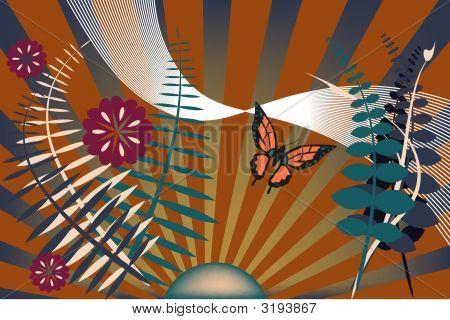 Dark Garden With Butterfly