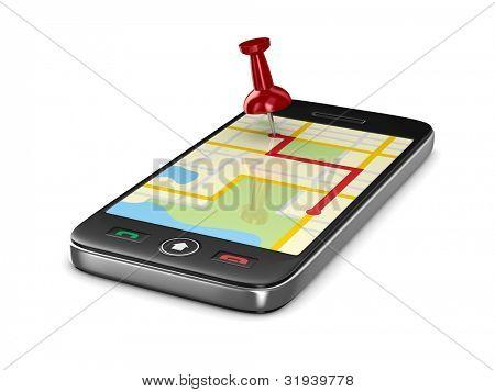 Navegação no telefone. Isolado de imagem 3D
