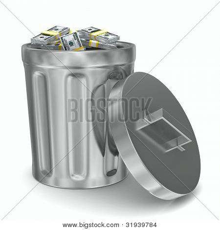 Garbage basket with dollars on white background. Isolated 3D image