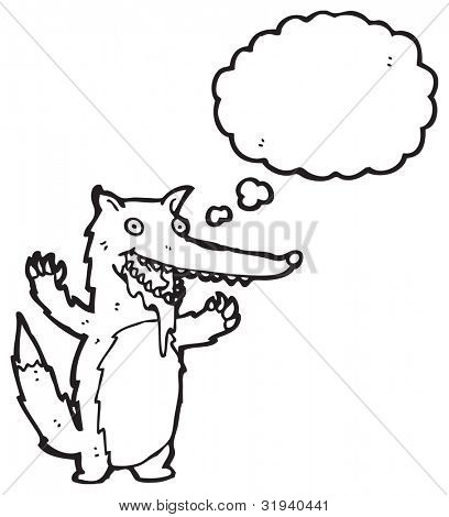 cartoon drooling wolf