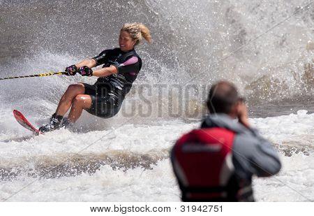 MELBOURNE, AUSTRALIA - MARCH 11: Breanne Dodd in the slalom event at the Moomba Masters on March 11, 2012 in Melbourne, Australia