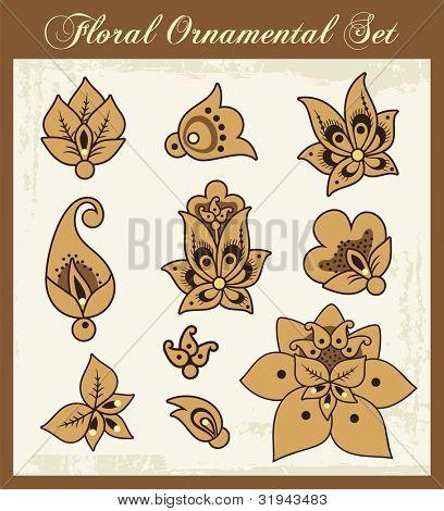 Vector set of floral ornamental design elements.