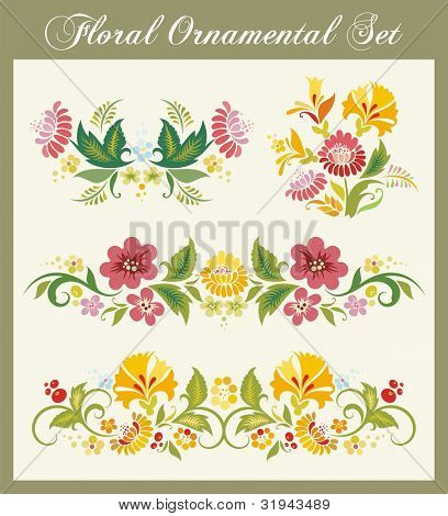 Vector floral ornamental set in traditional Russian style, great for layout embellishment.