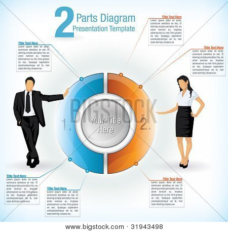 Colorful segmented wheel format presentation diagram with the figure of a business man and woman on either side with attached text information boxes