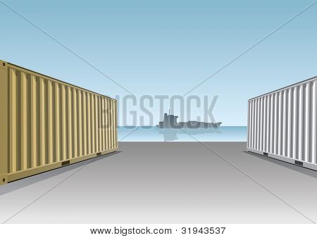 Cargo Containers at a dock.Vector illustration.