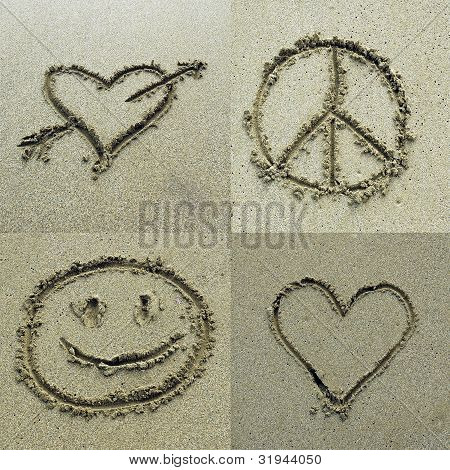 Different symbols drawn on sand