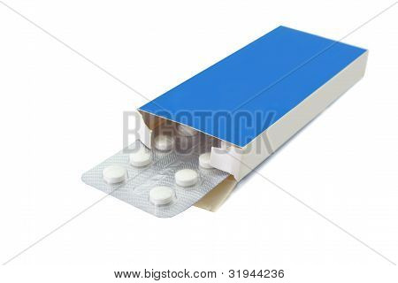 Pills Tablets In Open Package On White Background
