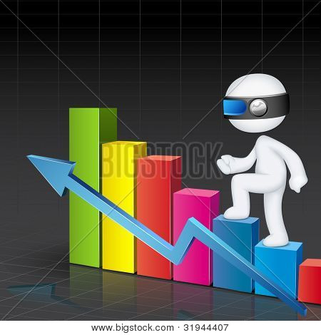 illustration of 3d business man in fully scalable vector climbing bar graph