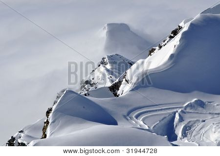 Beautiful snow covered mountain ridge