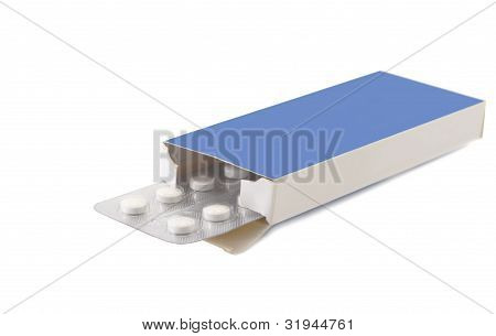 Pills Vitamin In Package Carton On White Background