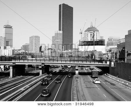 Downtown Boston, Massachusetts viewed from above Massachusetts Turnpike.