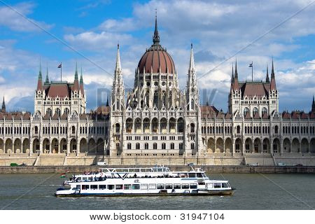 Budapest: a sightseeing boat passes in front of the symmetrical building of the Hungarian Parliament in Pest