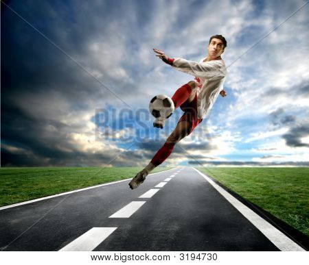 Soccer Player On The Street
