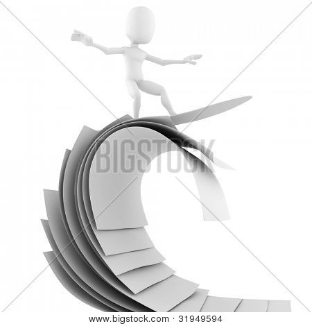 3d man surfing on blank sheets of paper