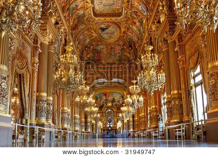 Golden Interior Of Opera Garnier