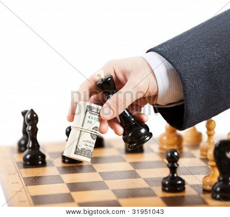 Businessman Unfair Playing Chess Game