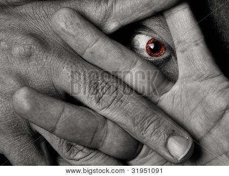 Yellow Eye Staring Throug Fingers