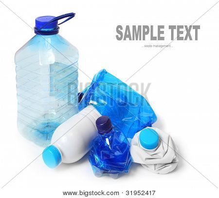 Group of empty plastic bottles. Environmental concept - waste recycling.