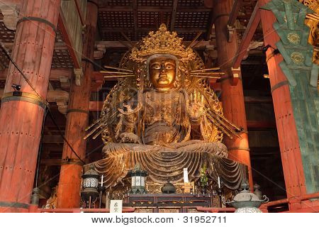 amida buddha giant metal statue in Todaiji temple, Nara, Japan