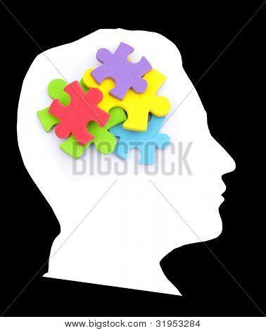 Colorful puzzle in the head