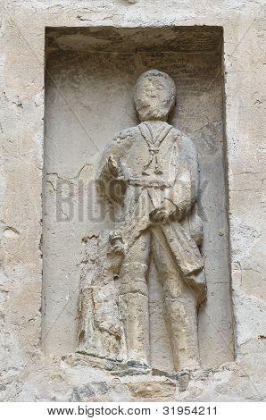 Marble statue. Oratory of Vigoleno. Emilia-Romagna. Italy.