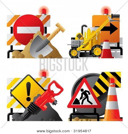 Vector set of roadwork icons with signboards and tools