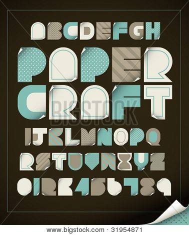 vector of vintage paper craft alphabets
