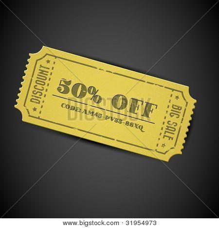 Alte gelbe Vektor Vintage Paper Verkauf Gutschein mit Code auf dunklem Hintergrund
