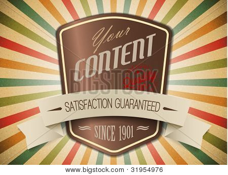 Old vector shield retro vintage label on sunrays background