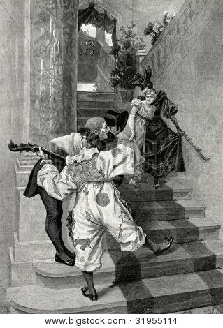 Harlequin. Engraving by Schwab from picture by  Grokholsky. Published in magazine