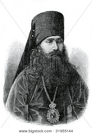 Eusebius, the first Bishop of Vladivostok. Engraving by  Shyubler. Published in magazine