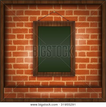 raster blackboard frame wood menu brick wall green
