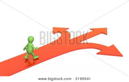 Pessoa 3D, indo para um garfo de três estradas
