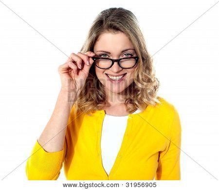 Happy Teenage Girl With Eyeglasses