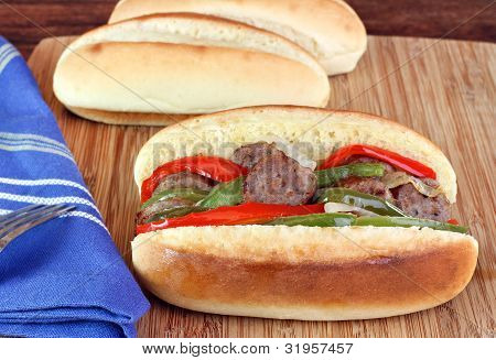Sausage, Onion And Pepper Sub Sandwich
