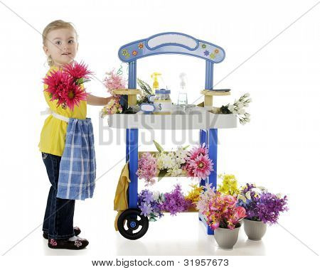 An adorable preschooler handing a bouquet out to the viewer from her flower stand.  The stand's signs are left blank for your text.  Isolated on white.