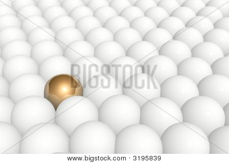 Gold Sphere In Row Of White Spheres