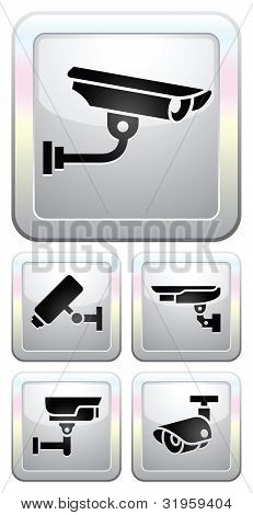 CCTV labels, video surveillance, set button