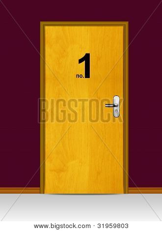 Wooden Door With Number One