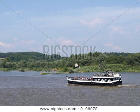 Touristic boat for tourist in Kazimierz Dolny, Poland