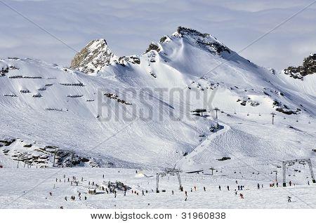 Slopes in Kitzsteinhorn ski resort near Kaprun, Austrian Alps